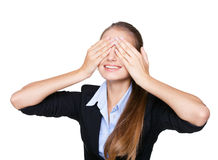 young woman covering eyes Stock Image