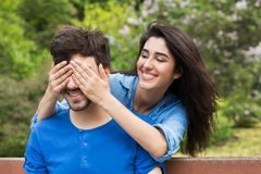Couple has date in the park stock image