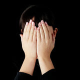 Young woman covering her eyes Royalty Free Stock Photo