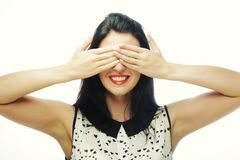Young woman covering her eyes with her hands. Royalty Free Stock Photo