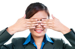 Young Woman Covering Her Eyes Stock Photo