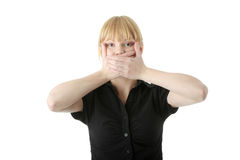Young woman covering her mouth. With hand, isolated on white background Stock Photos