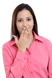 Young woman covering her mouth Royalty Free Stock Photography