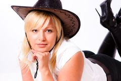 Young woman in cowboy hat Royalty Free Stock Photography
