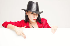 Young woman in a cowboy hat. Close up portrait of a beautiful young woman with cowboy hat Stock Photo