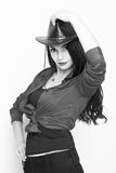 A young woman in a cowboy hat. Close up portrait of a beautiful young woman with cowboy hat Royalty Free Stock Photos