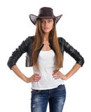 Young woman in cowboy hat. Isolated on white background Royalty Free Stock Photos