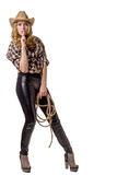 Young woman is in a cowboy hat with a rope. On white background Stock Photos