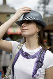 Young woman in cowboy style hat Royalty Free Stock Photos
