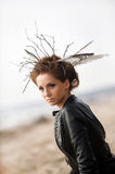 Young woman with creative hairstyle Stock Image