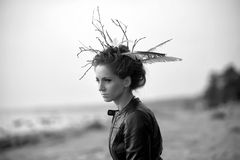 Young woman with creative hairstyle Stock Photography