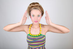 Young woman with creative make-up and coiffure Royalty Free Stock Photos
