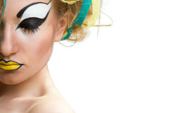 Young woman with creative makeup. Isolated over white background Royalty Free Stock Photo