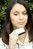 Young woman with credit card Stock Photos