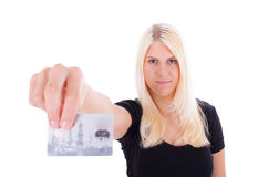 A young woman with credit card Royalty Free Stock Image