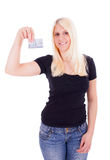 A young woman with credit card Stock Photos