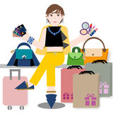 Young woman with credit card and shopping bags Royalty Free Stock Photography