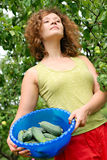 Young woman with crop of cucumbers Stock Images