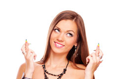 Young woman with crossed fingers Stock Photography