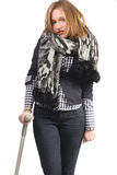 Young woman on a crutch royalty free stock photo