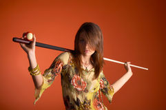 Young woman with cue Stock Photos