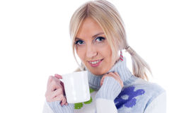 Young woman with a cup Royalty Free Stock Photography