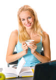 Young woman with cup of coffee Stock Photos
