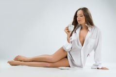 Young Woman With A Cup Of Coffee Royalty Free Stock Photos