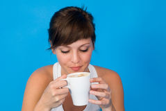 Young woman with cup of coffee or tea Stock Images