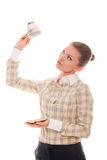 Young woman with cup coffee upside-down Stock Image
