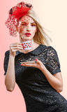 Young woman with cup of coffee in vintage dress Royalty Free Stock Photography