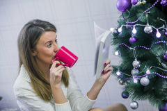 Young woman with cup of hot chocolate in front of christmas tree stock photo