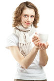 Young woman with a cup of tea Royalty Free Stock Photos