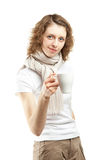 Young woman with a cup of tea Royalty Free Stock Photography