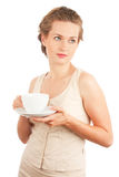 Young woman with cup of tea/coffee Royalty Free Stock Images