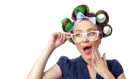 Young woman with curlers Royalty Free Stock Images