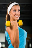 Young woman curling a dumbbell Stock Photography