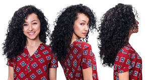 Young woman with curly black hair Royalty Free Stock Photos