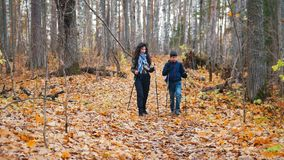 Young woman with curly hair and a boy on scandinavian walk stock video footage
