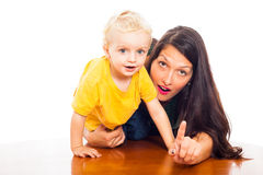 Young woman with cute child boy Royalty Free Stock Photos