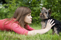 Young woman with cute puppy Royalty Free Stock Photo