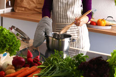 Young woman cutting vegetables in the kitchen.  Stock Photography