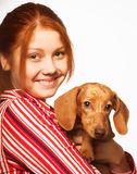 Young woman with a dachshund Stock Images
