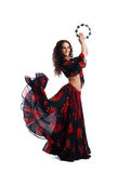 Young woman dance in gypsy with tambourine Royalty Free Stock Images
