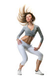 Young woman dance on white royalty free stock images