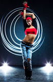 Young woman dancer. With lights traces royalty free stock photo