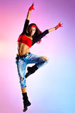 Young woman dancer jumping Royalty Free Stock Photo