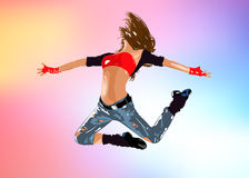 Young woman dancer jumping. EPS 10 format Royalty Free Stock Images