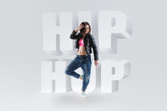 Young woman  dancer with the words hip hop Stock Images