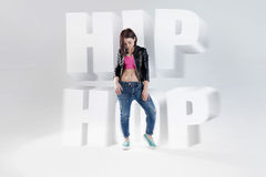 Young woman  dancer with the words hip hop, small Stock Photos